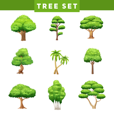 Green trees flat pictograms collection with various foliage and crown shapes abstract isolated vector illustration