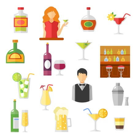 drink bottle: Bar cocktails and alcohol drinks shaker with barmen and customers flat Icons collection abstract isolated  vector illustration