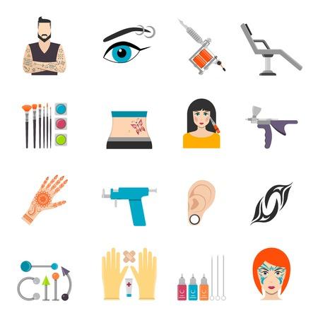 Pictogrammen die met bodyart tattoo piercing en speciale uitrustingen voor man en vrouw vector illustratie