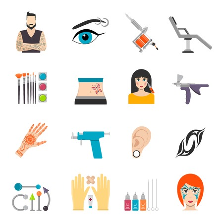 Icons set with bodyart  tattoo piercing and special equipments for man and woman vector illustration