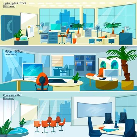 personas trabajando en oficina: Oficina interiores banners horizontales establecidas con sala de conferencias y la oficina espacio abierto con la ilustración vectorial muebles modernos Vectores
