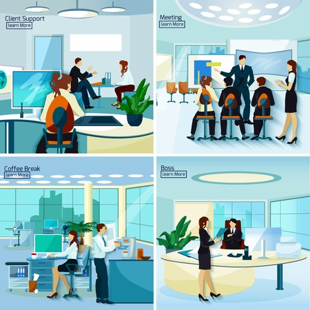Office people 2x2 design concept set of  client support meeting coffee break and boss workplace compositions flat vector illustration