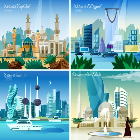 discover: Discover baghdad kuwait  and abu dhabi largest arabic cities 4 flat icons square composition webpage vector illustration