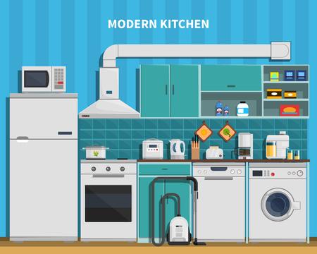 fondo de la cocina moderna con electrodomésticos ilustración vectorial plana