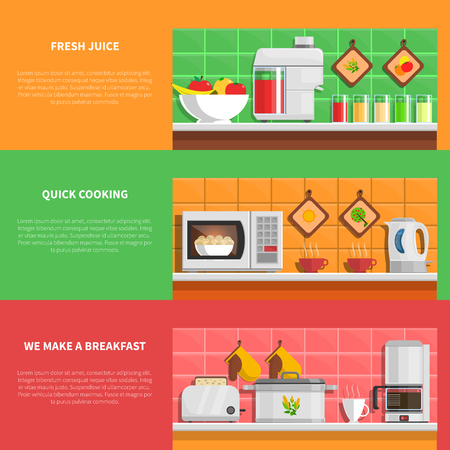 utensils: Household appliances horizontal banners set with fresh juice and quick cooking symbols flat isolated vector illustration