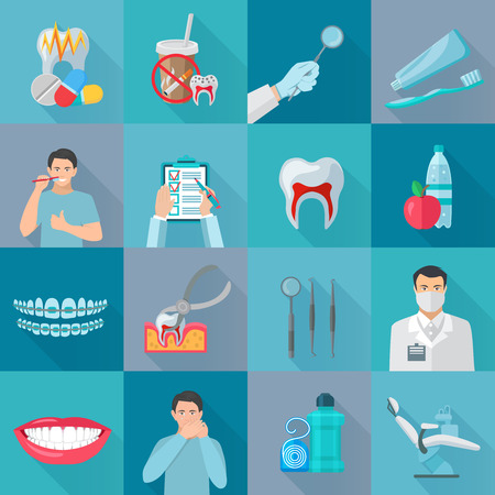 Flat color shadow dental icons set with instruments for teeth treatment and hygiene products isolated vector illustration