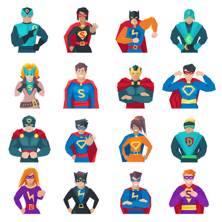 business woman phone: Superhero icons set with strong men and women flat isolated vector illustration
