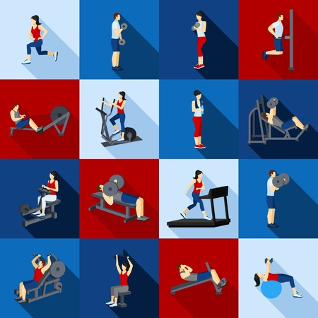 people shadow: People fitness workout in gym flat long shadow icons set isolated vector illustration Illustration