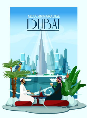 skyscraper: Dubai poster with two arabs sitting at table in front and city skyscrapers with burj khalifa in center on background flat vector illustration
