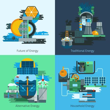 에너지 생산 설계 개념은 연료와 평면 아이콘을 제조 electiricy 고립 된 벡터 일러스트 레이 션 설정