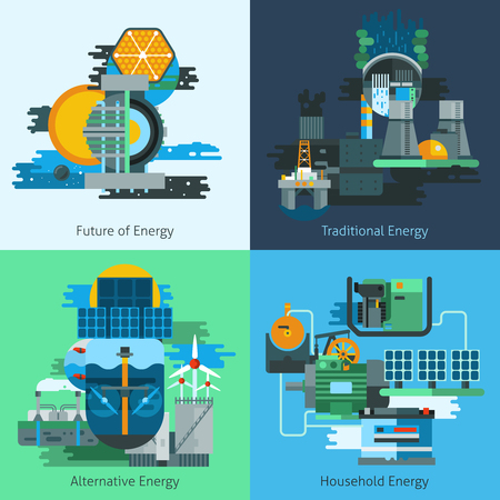 Energy production design concept set with fuel and electiricy manufacturing flat icons isolated vector illustration