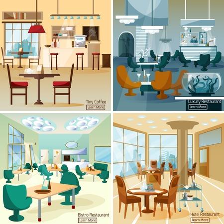 Hotel de lujo café bar interior 4 composición de iconos interactivos planos para la página de internet resumen ilustración vectorial aislado