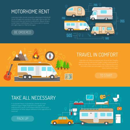 veicolo ricreativo banner orizzontale impostate con camper affitto e di viaggio nei simboli di comfort piatto isolato illustrazione di vettore