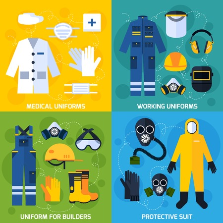 wear mask: Color flat composition showing different protective uniform equipment for people vector illustration Illustration