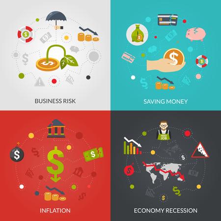 Crisi finanziaria 4 icone piane manifesto composizione con l'inflazione e la recessione economica rischia astratto illustrazione vettoriale isolato