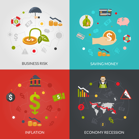 financial crisis: Financial crisis 4 flat Icons composition poster with inflation and recession business risks abstract isolated vector illustration