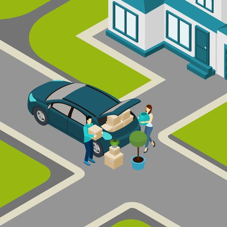 family moving house: Family moving from house to apartment loading  packed boxes into car trunk isometric banner abstract vector illustration