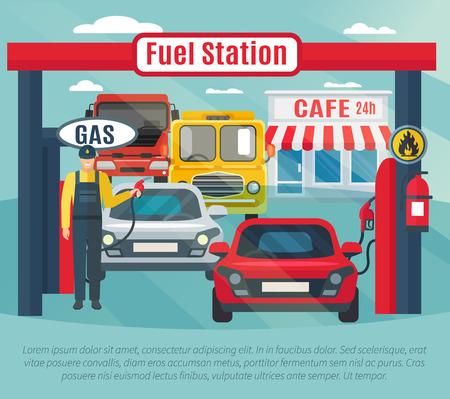 Tankstelle Hintergrund mit Kraftstoff Arbeiter Autos und Café flach Vektor-Illustration