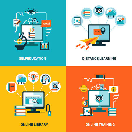 distance: Online education design concept with flat icons composition of selfeducation distance learning online library and online training vector illustration Illustration
