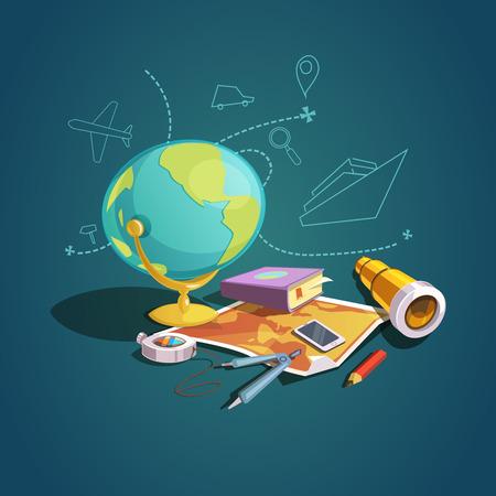 avion caricatura: Geopraphy concepto de ilustraci�n vectorial conjunto de dibujos animados retro lecci�n de la escuela
