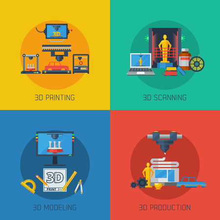 scanning: 3d manufacturing process 4 flat icons square composition from scanning prototype to objects production abstract vector illustration