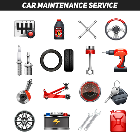 car service: Car auto service garage center equipment for fixing and maintaining vehicles flat icons collection abstract isolated vector illustration