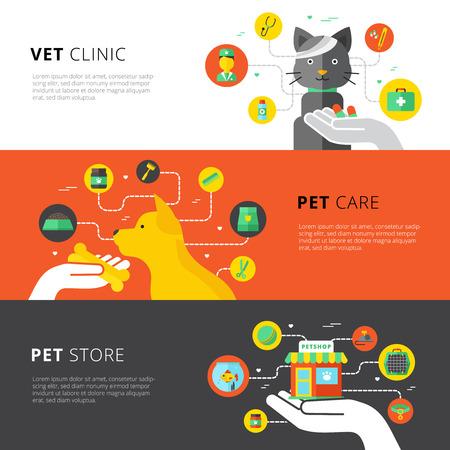 Banderas horizontales veterinarios se establece con la clínica veterinaria de cuidado de mascotas y la ilustración vectorial plana tienda de mascotas
