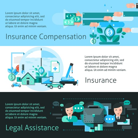 compensation: Insurance and risk horizontal banners set with compensation symbols flat isolated vector illustration Illustration