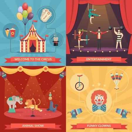 Circusvoorstelling 2x2 design concept set van grappige clowns entertainment en prestaties met getrainde dieren sterke man en acrobaten plat vector illustratie