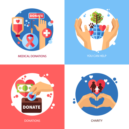 fund world: Charity design concept icons set with donations symbols flat isolated vector illustration
