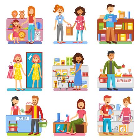 Familie winkelen in warenhuis voor schoenen speelgoed en kleding en voedsel vlakke pictogrammen geïsoleerd collectie vector illustraties