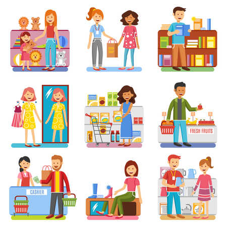 Family shopping in department store for shoes toys and clothes and food flat pictograms collection isolated vector illustrations
