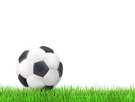 team victory: Soccer ball grass white background vector illustration Illustration