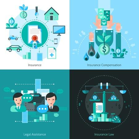 Business-Versicherungs-Konzept Symbole mit Rechtshilfe Symbole flach isolierten Vektor-Illustration gesetzt Vektorgrafik