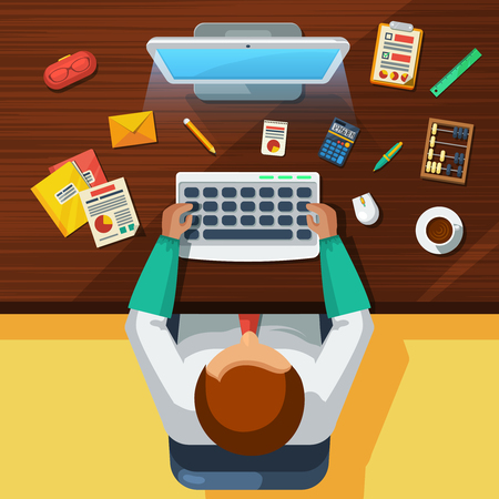 personal assistant: Accountant office work place with computer calculator and old fashioned bead count top view flat poster vector illustration