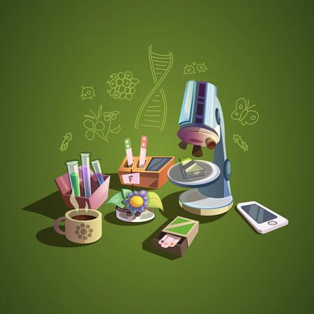 Biología concepto con los iconos de dibujos animados retro ciencia conjunto ilustración vectorial