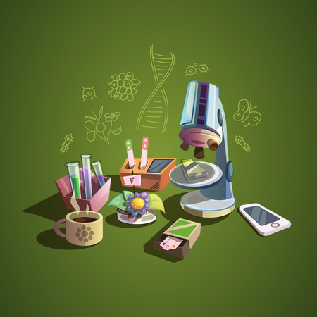 Biology concept with retro science cartoon icons set vector illustration