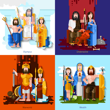 zeus: sports competition gods 2x2 concept set of mythological characters symbolize war wealth and underworld in  cartoon style flat vector illustration