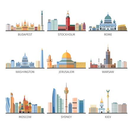 Mundo capitales famosos paisajes y monumentos históricos y modernos pictogramas planas diseño de la colección resumen ilustración vectorial aislado