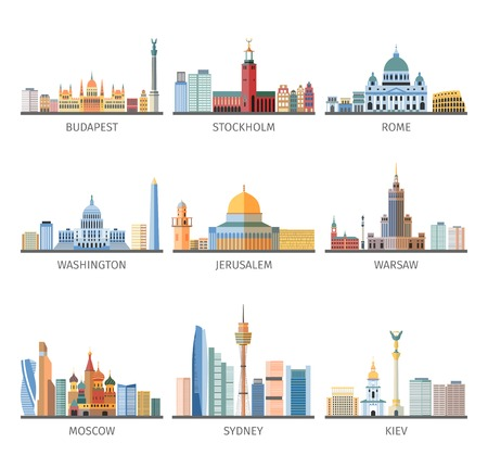 european culture: World famous capitals historical and modern landscapes and landmarks flat pictograms collection design abstract isolated vector illustration