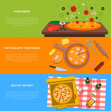 lunch box: Pizza horizontal banner set with cooking process and ingredients flat elements isolated vector illustration