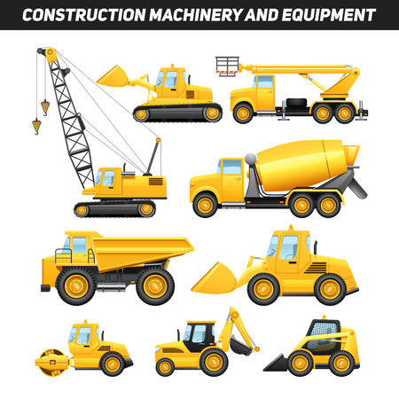 construction machines: Construction equipment and machinery with trucks crane and bulldozer flat icons set bright yellow abstract isolated vector illustration