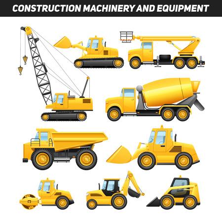 maquinaria: Maquinaria de construcción de camiones grúa y niveladora iconos planos establece la ilustración abstracta de color amarillo brillante aislado del vector