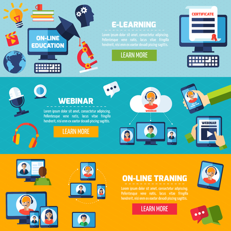 podcasting: Podcasting and webinar horizontal banner set with online training elements isolated vector illustration