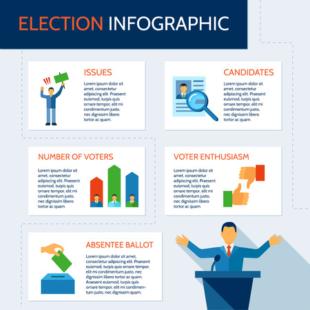 voters: Election infographic set with description of candidates issues voters vector illustration