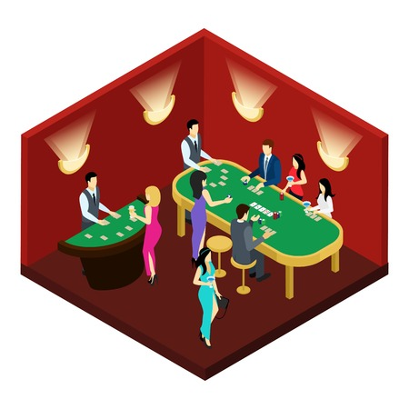 croupier: Poker and gambling with men women wearing dresses and suits isometric vector illustration Illustration
