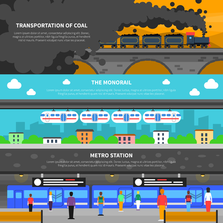 railroad: Train horizontal banner set with metro and cargo transportation wagons flat elements isolated vector illustration