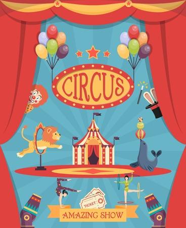payasos caricatura: Incre�ble espect�culo de circo cartel con una carpa de teatro de arena corredera y el le�n entrenado y plana ilustraci�n vectorial sello de la marina