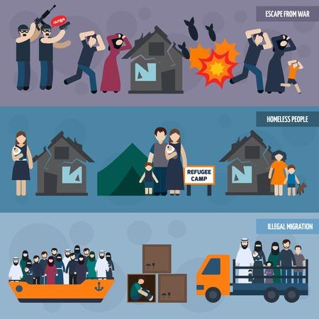 pobreza: refugiados apátridas banner horizontal conjunto con las personas sin hogar siluetas ilustración vectorial