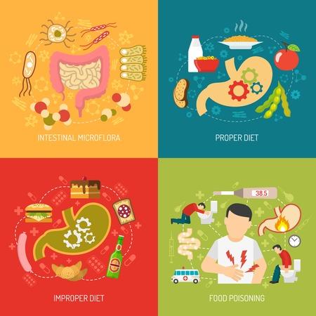 Spijsvertering begrip iconen set met darmflora en goede voeding symbolen platte geïsoleerde vector illustratie Vector Illustratie